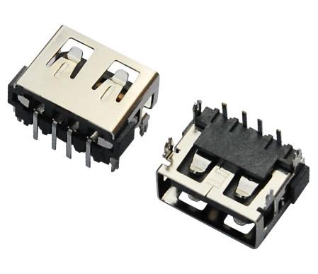 USB AF 短体 L=10.0 90°DIP 四脚鱼叉 反向型
