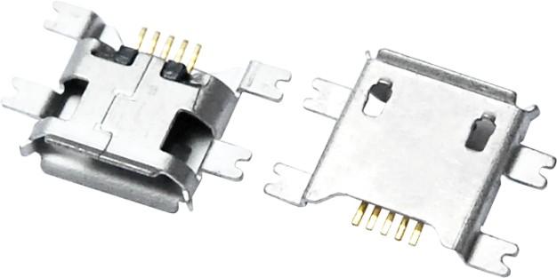 MICRO USB 5F B TYPE 沉板 1.20 四脚全贴 A款
