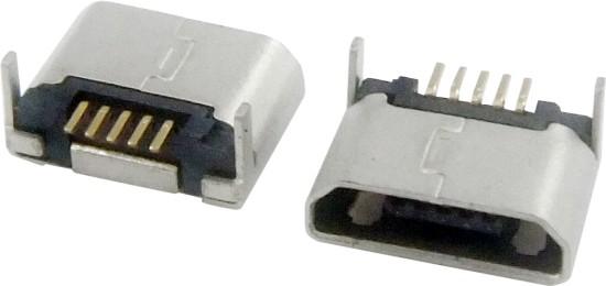 MICRO USB 5F B TYPE DIP 7.20 无卷边 两后脚