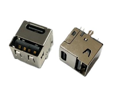 TYPE C母座14PIN与USB 2.0母单面插二合一