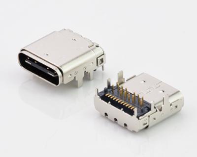 USB C TYPE 前插后贴双铁壳24PIN母座防连展款