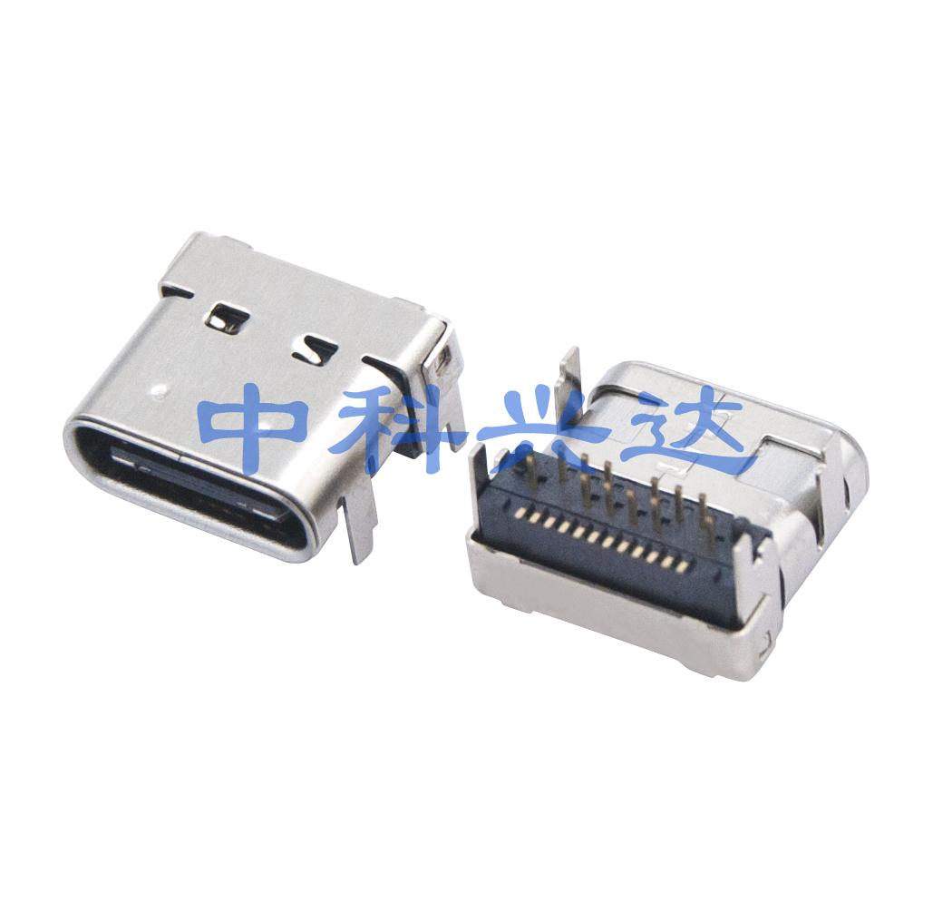 USB TYPE 母座板上双外壳DIP+SMT垫高型H=4.46mm
