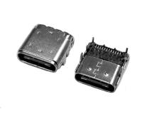 广东USB C TYPE 前插后贴双铁壳24PIN母座防连展款