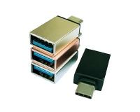 广州USB Type c公头对USB 3.0母头铝合金转接头